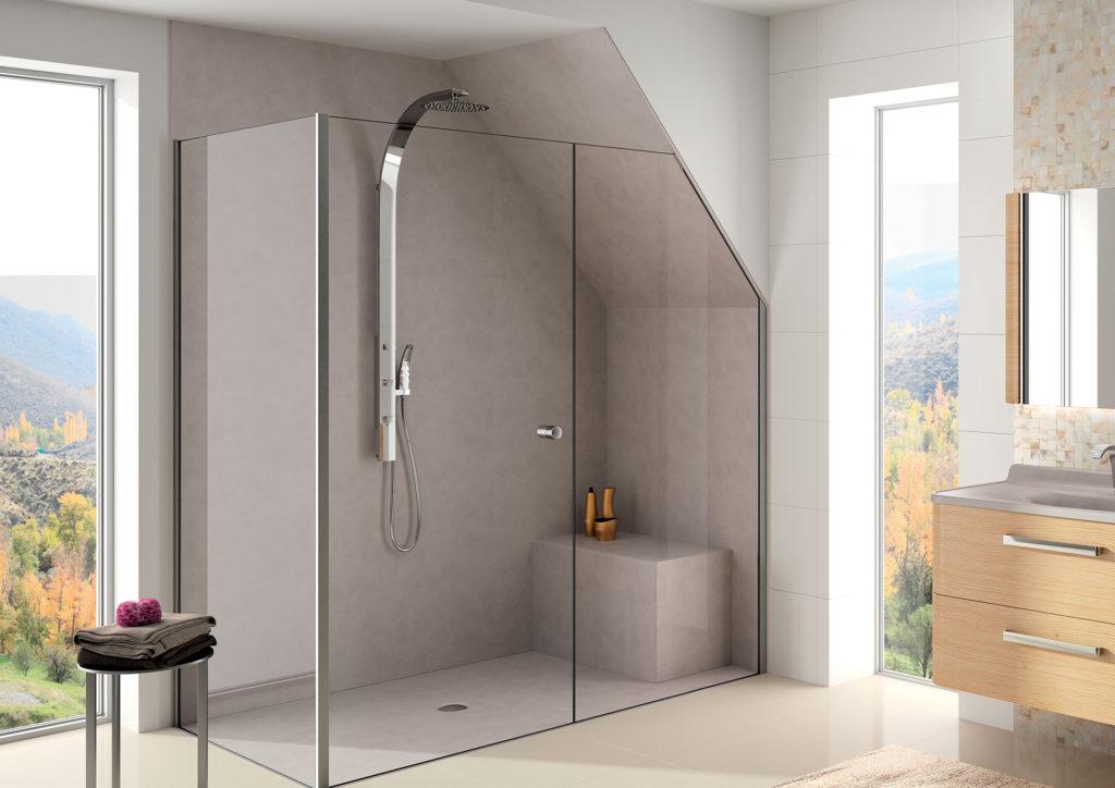 Remplacer-la-baignoire-par-une-douche,-receveur-et-panneaux-muraux-de-douche-taupe