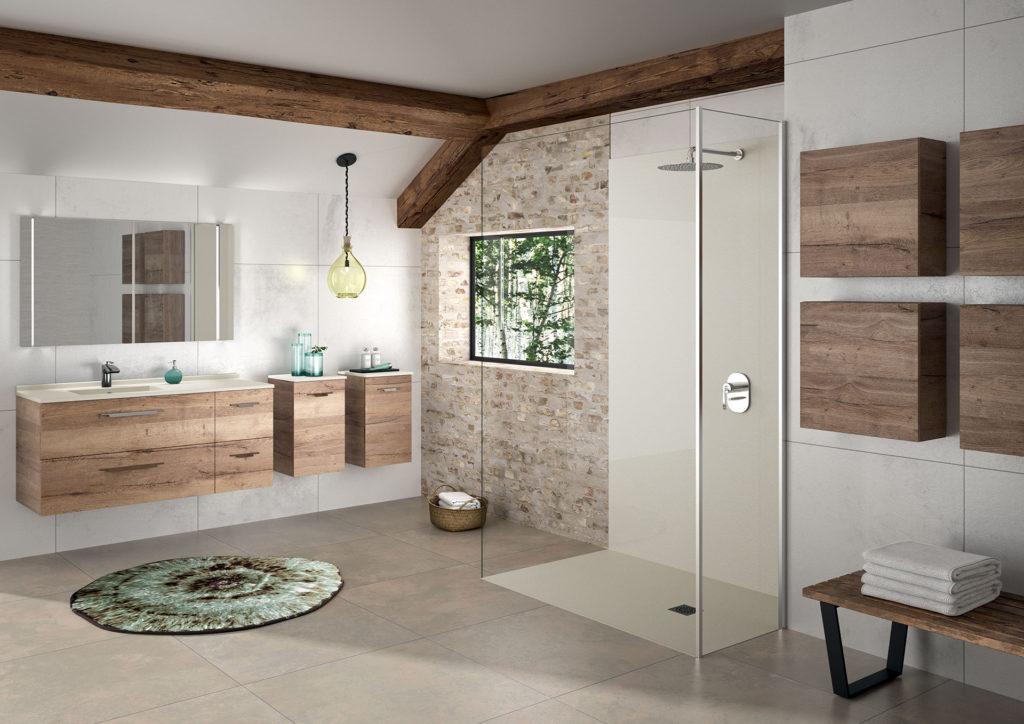 Meuble-salle-de-bains-bois-et-beige-Strada+,-demi-colonne-de-salle-de-bains,-miroir-et-douche-beige receveur beige, panneau mural beige