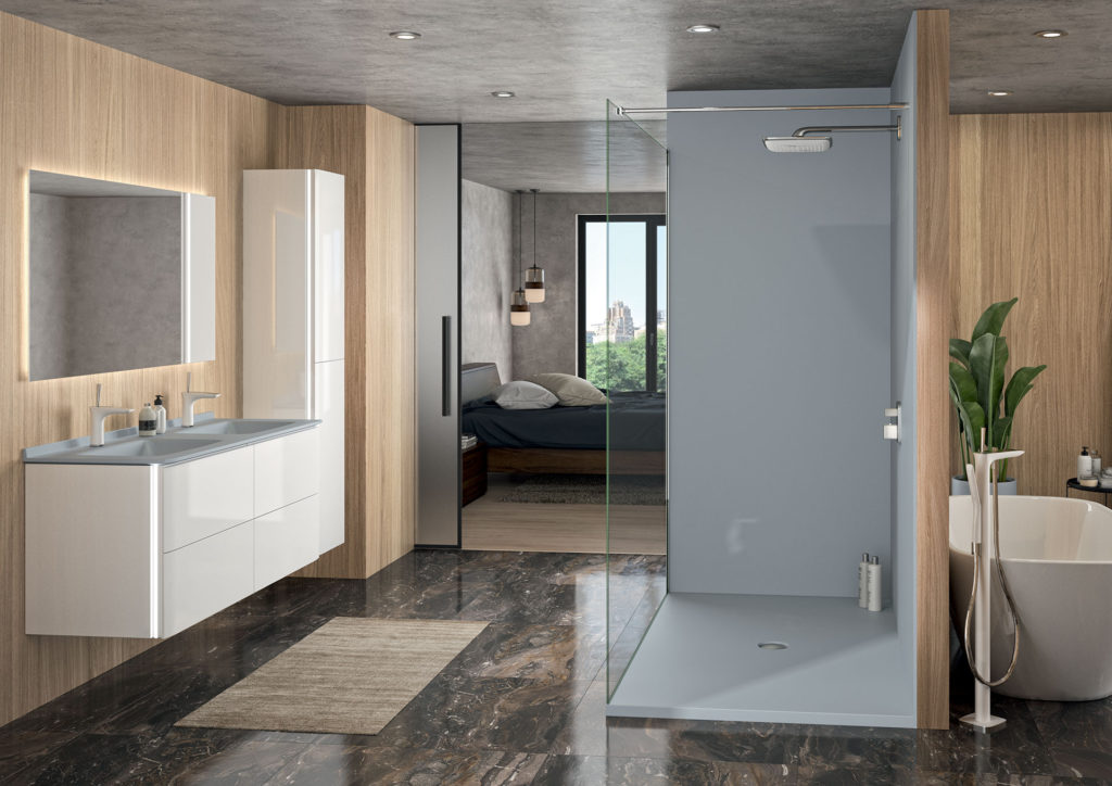 Meuble-salle-de-bains-double-vasque-blanc-et-gris,-colonne-de-salle-de-bains,-miroir-et-douche-grise, receveur gris, panneaux de douche gris