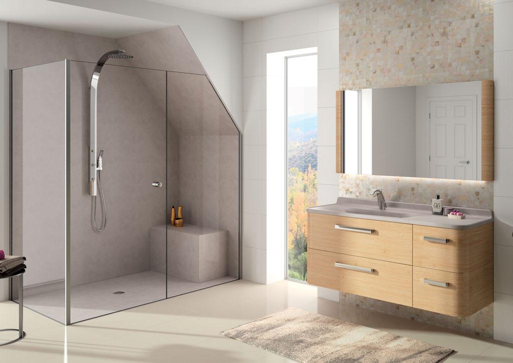 Meuble vasque bois 4 tiroirs Glam Ambiance Bain, vasque de designer, miroirs et douche avec banc taupe, receveur taupe, panneaux muraux sur-mesure taupe