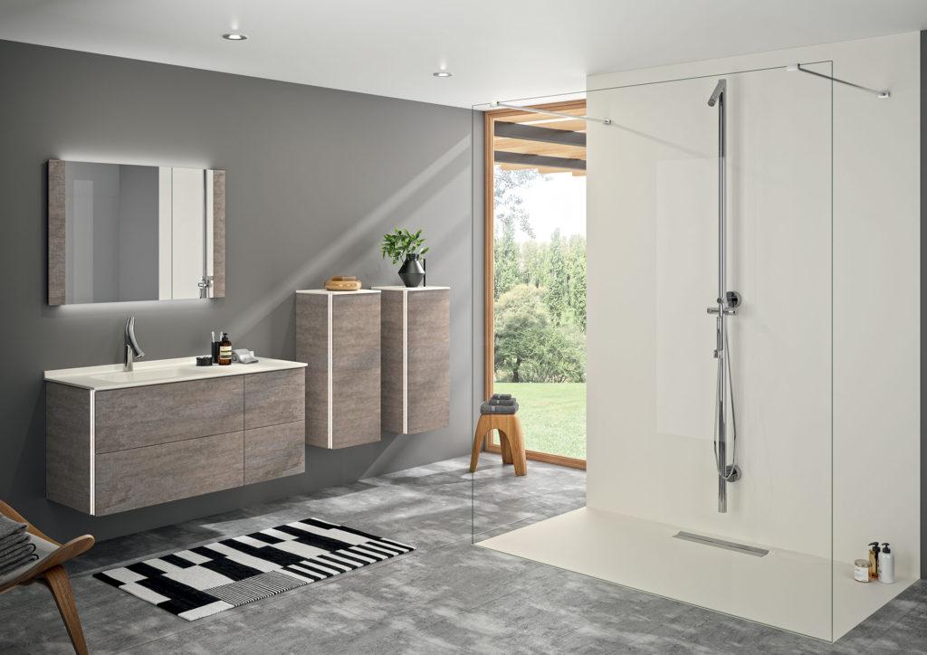 meuble-de-salle-de-bains-bois,-colonne-et-receveur-caniveau-ambiance-bain