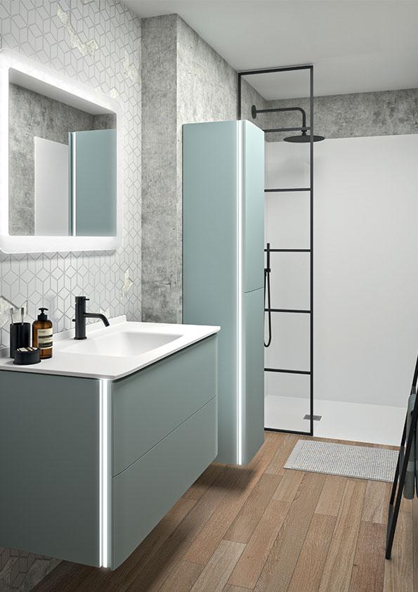 meuble-vasque-bleu,-douche-avec-verrière,-colonne-et-miroir-led-ambiance-bain