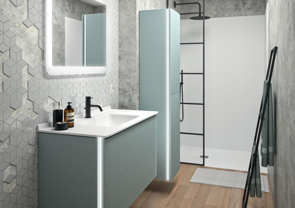 meuble-vasque-bleu,-douche-avec-verrière,-colonne-et-miroir-led-ambiance-bain2