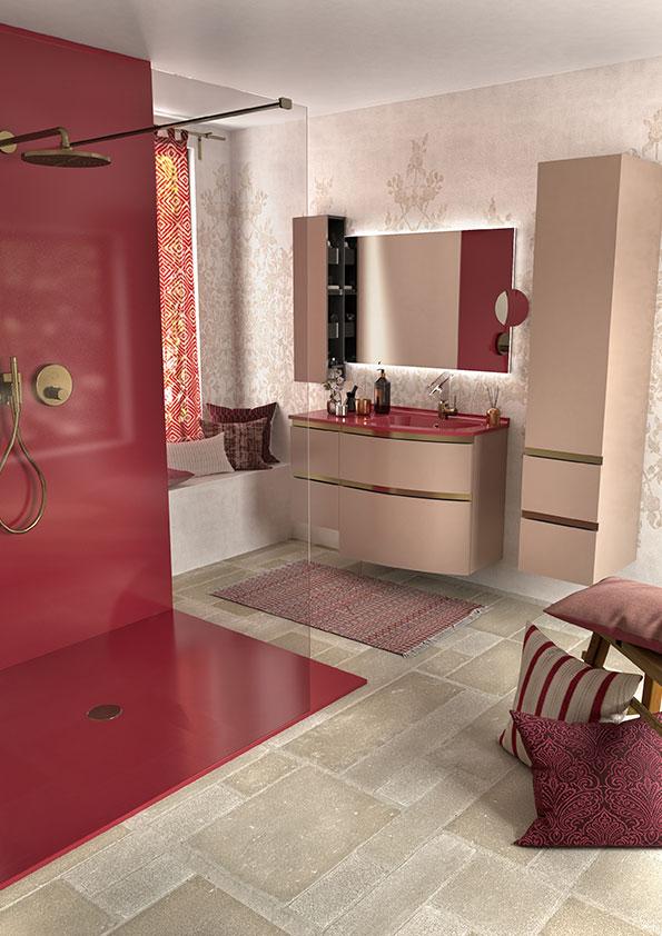 Ensemble salle de bains rose Aviso Ambiance bain meuble vasque, colonne supendue, miroir et douche