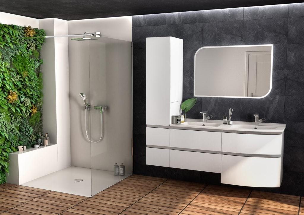 Meuble de salle de bains galbé blanc avec colonne, douche à l'italienne beige