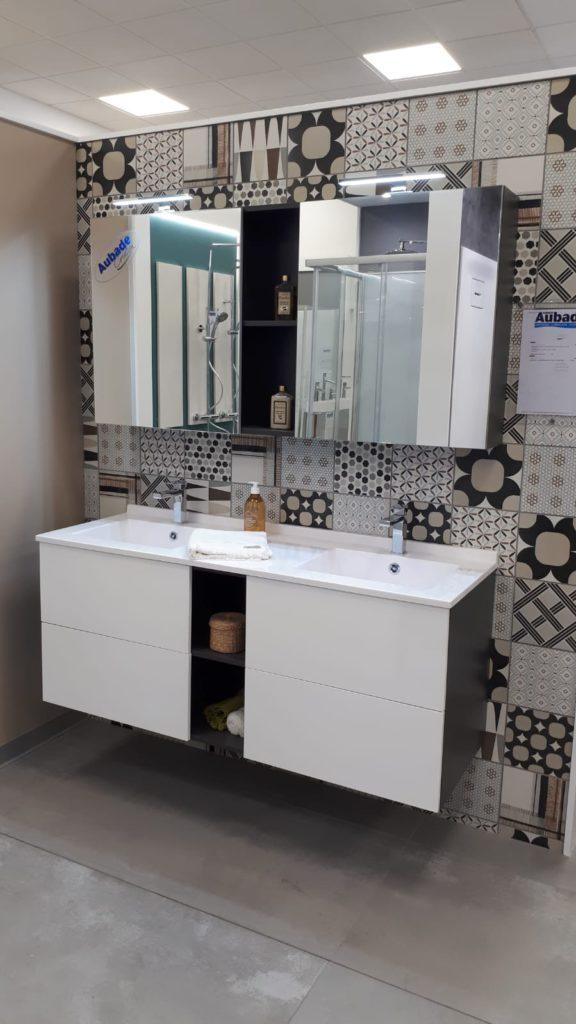 Meuble double vasque 140cm Open Ambiance Bain, armoire de toilette 140cm avec miroir, vasque smo