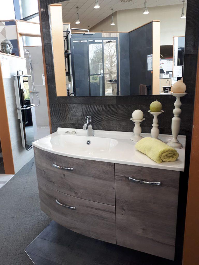 Meuble salle de bains bois 105 cm 2 tiroirs 1 porte Elio Aubade création Espace Aubade, miroir Ambiance Bain, vasque smo