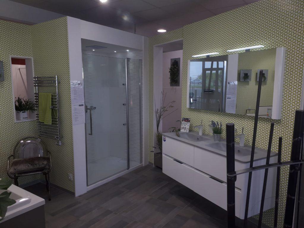 Meuble salle de bains dolce ambiance bain blanc et ciment 6 tiroirs 180cm vasque smo, miroir, double vasque