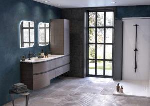 Meuble salle de bains double vasque bois foncé et noir, 6 tiroirs, colonne de salle de bains, miroir et douche blanche