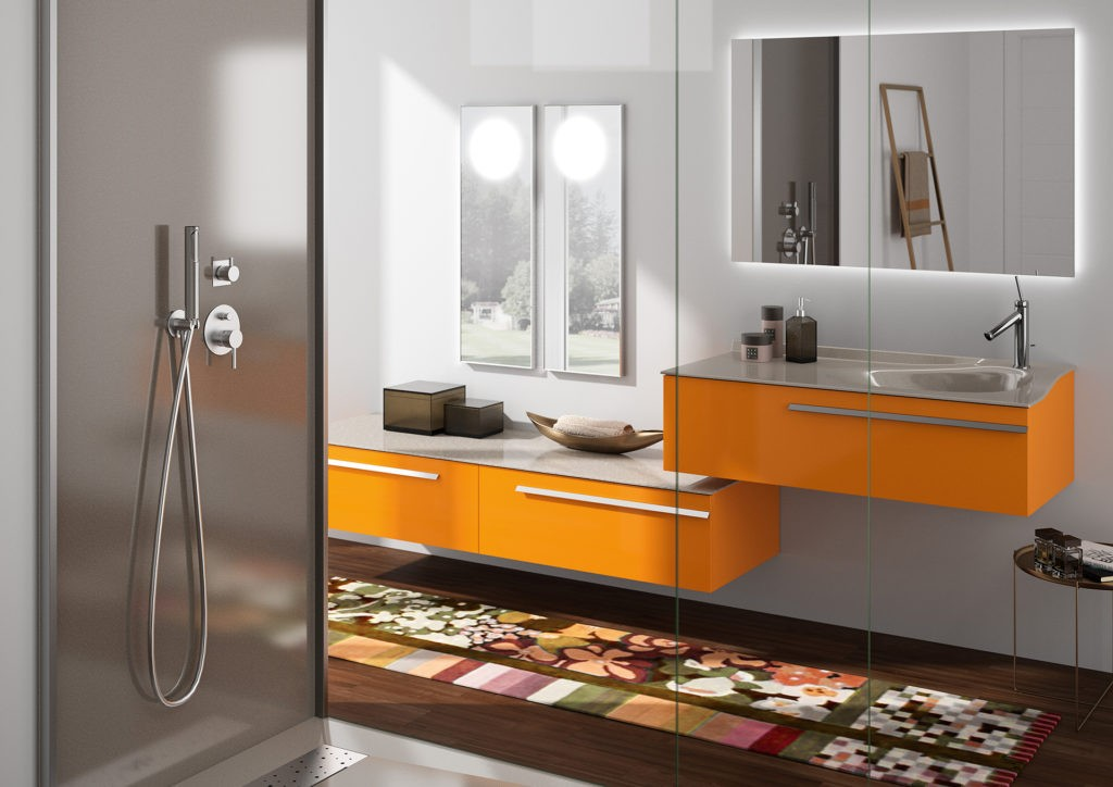 Meuble vasque Joya Ambiance bain orange et gris, vasque de designer, miroirs et douche grise