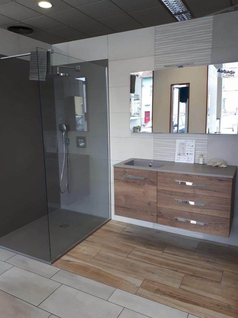 Meuble vasque de salle de bains 120cm, 1 porte 3 tiroirs Vita Aubade création Espace Aubade, miroir Ambiance Bain, douche VITA, vasque smo