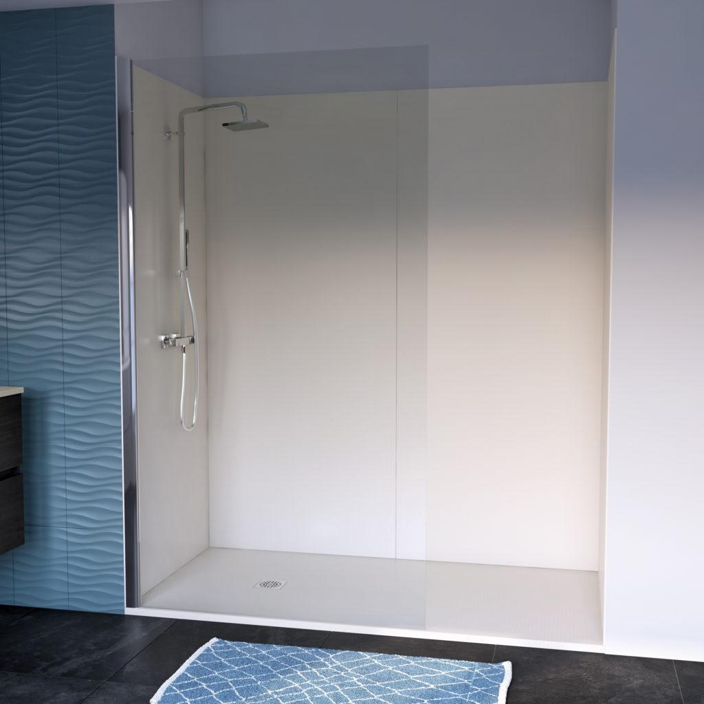 Remplacement de baignoire, receveur et panneaux muraux de douche beige Ambiance Bain
