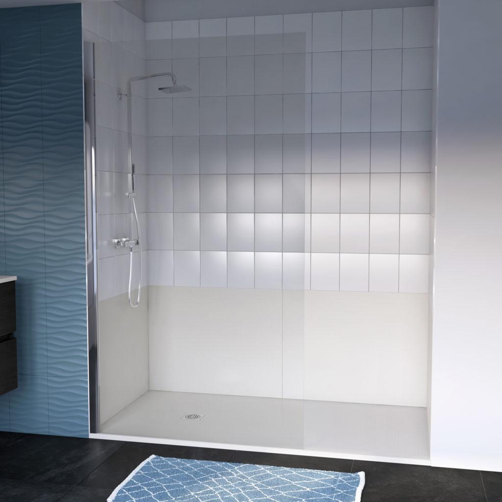 Remplacer la baignoire par une douche, receveur et panneaux muraux beige Ambiance Bain