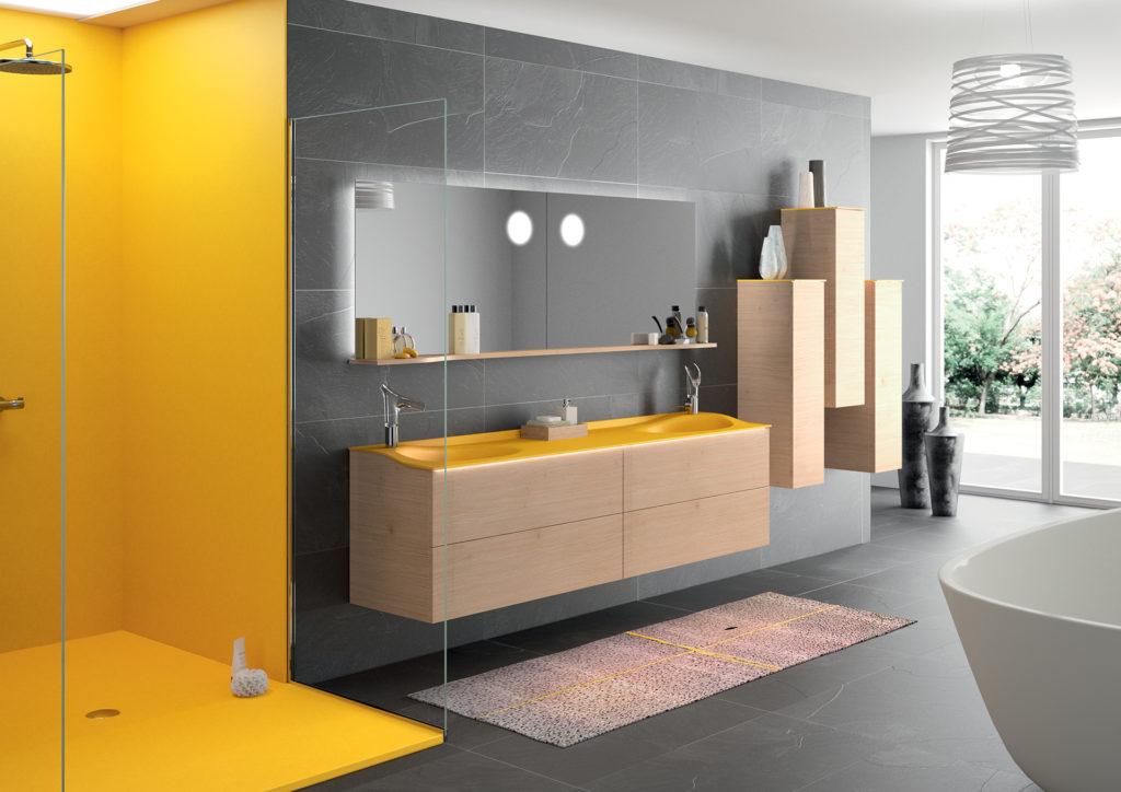 Salle de bains de luxe, Salle de bains jaune, Meuble de salle de bains double vasque bois et jaune, douche jaune, miroir Joya Ambiance Bain
