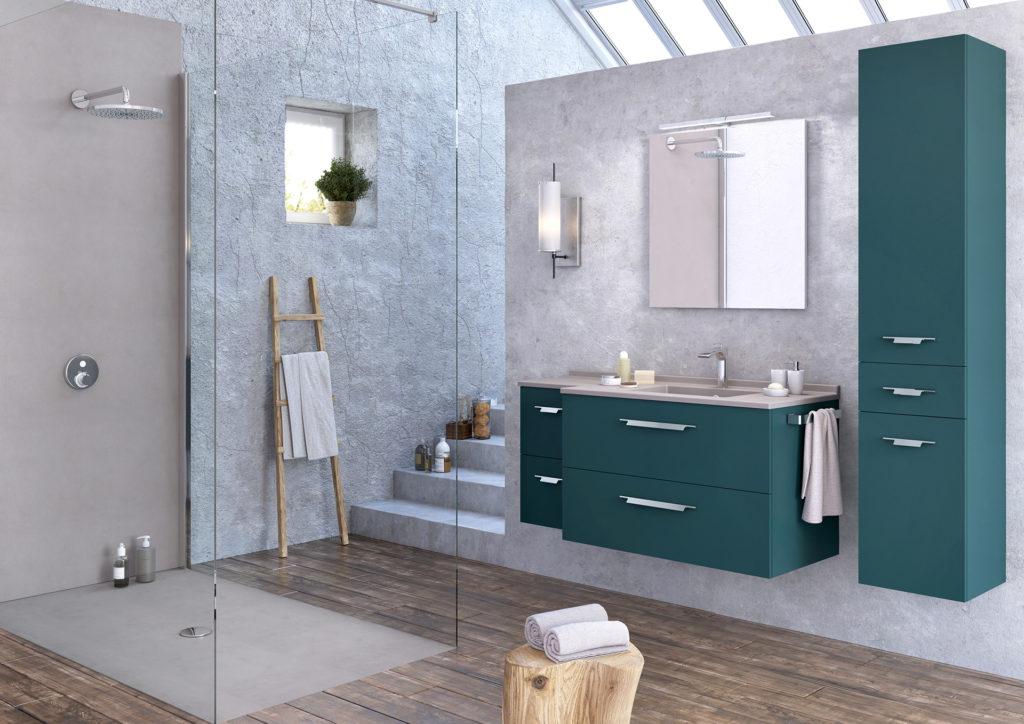 Salle de bains grise, Salle de bains pierre, Salle de bains parquet, ns vert Strada+, colonne salle de bains design, douche grise Ambiance Bain