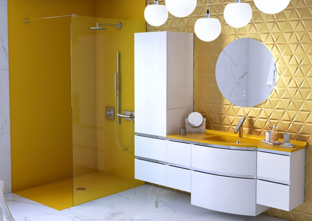 Salle de bains haut de gamme, Salle de bains jaune, Salle de bains marbre, Meuble de salle de bains Aviso Ambiance Bain blanc et jaune, douche à l'italienne jaune
