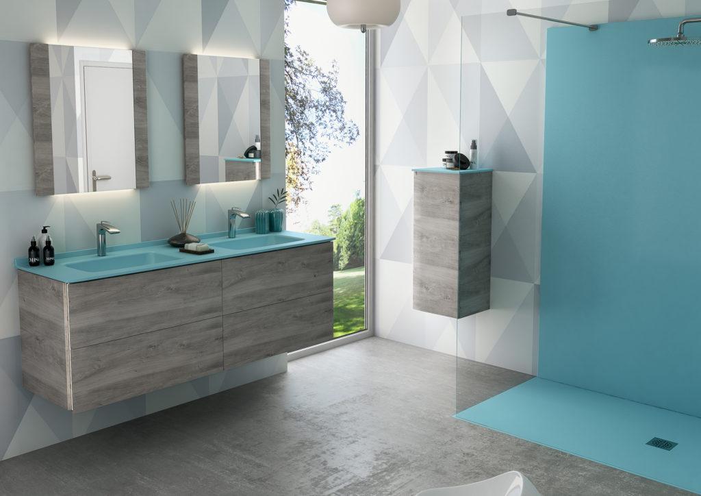 Salle de bains haut de gamme, Salle de bains bleue, Meuble de salle de bains Saxo Ambiance Bain double vasque bleu et bois gris, colonne suspendue, douche bleu, miroir