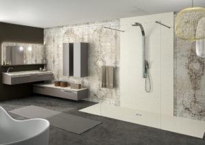 douche à l'italienne beige PMR Elegance Ambiance Bain, receveur de douche et panneau mural de douche beige, meuble de salle de bains taupe joya