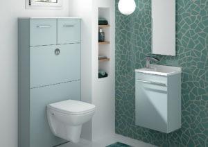 Toilette vert, lave mains vert et meuble wc suspendu Ambiance Bain avec bâti support geberit