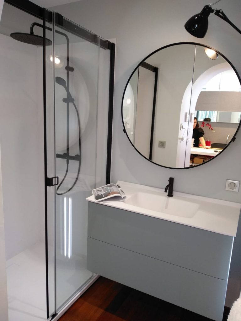 meuble de salle de bains bleu saxo led ambiance bain