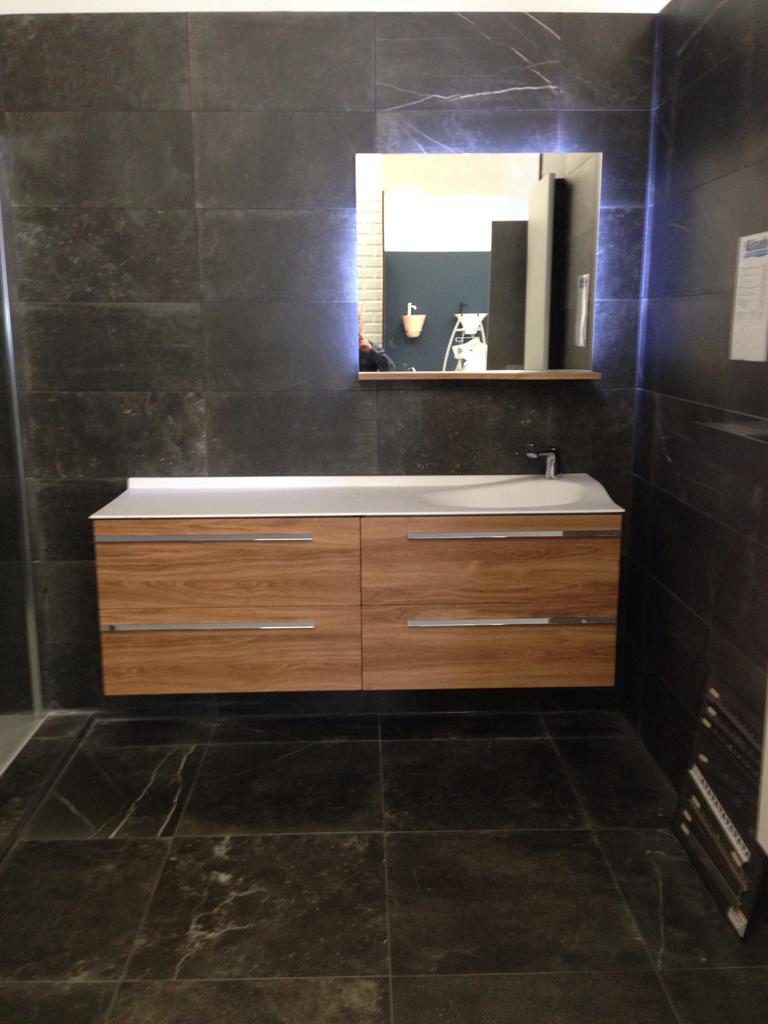 meuble vasque Joya ambiance bain, meuble de salle de bains 4 tiroirs 160 cm, design mathilde bretillot, miroir