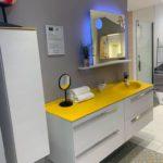 Meuble de salle de bains blanc et jaune Joya Ambiance Bain