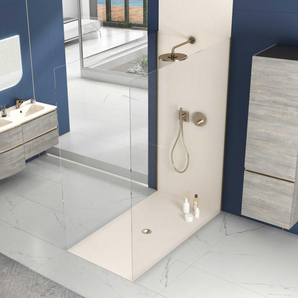bac à douche encastré, receveur de douche à l'italienne, panneau de douche