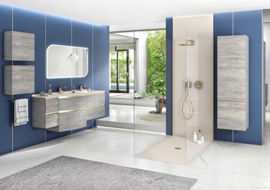 meuble vasque suspendu aviso ambiance bain, bac à douche, panneau de douche