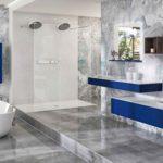 Meuble de salle de bains bleu Joya ambiance bain vasque terrazzo et douche terrazzo