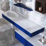 Meuble de salle de bains bleu Joya ambiance bain vasque terrazzo