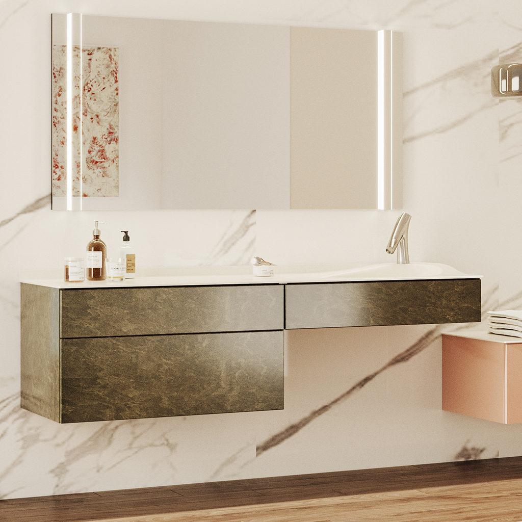 Meuble de salle de bains rose Joya Ambiance bain, salle de bains minimaliste